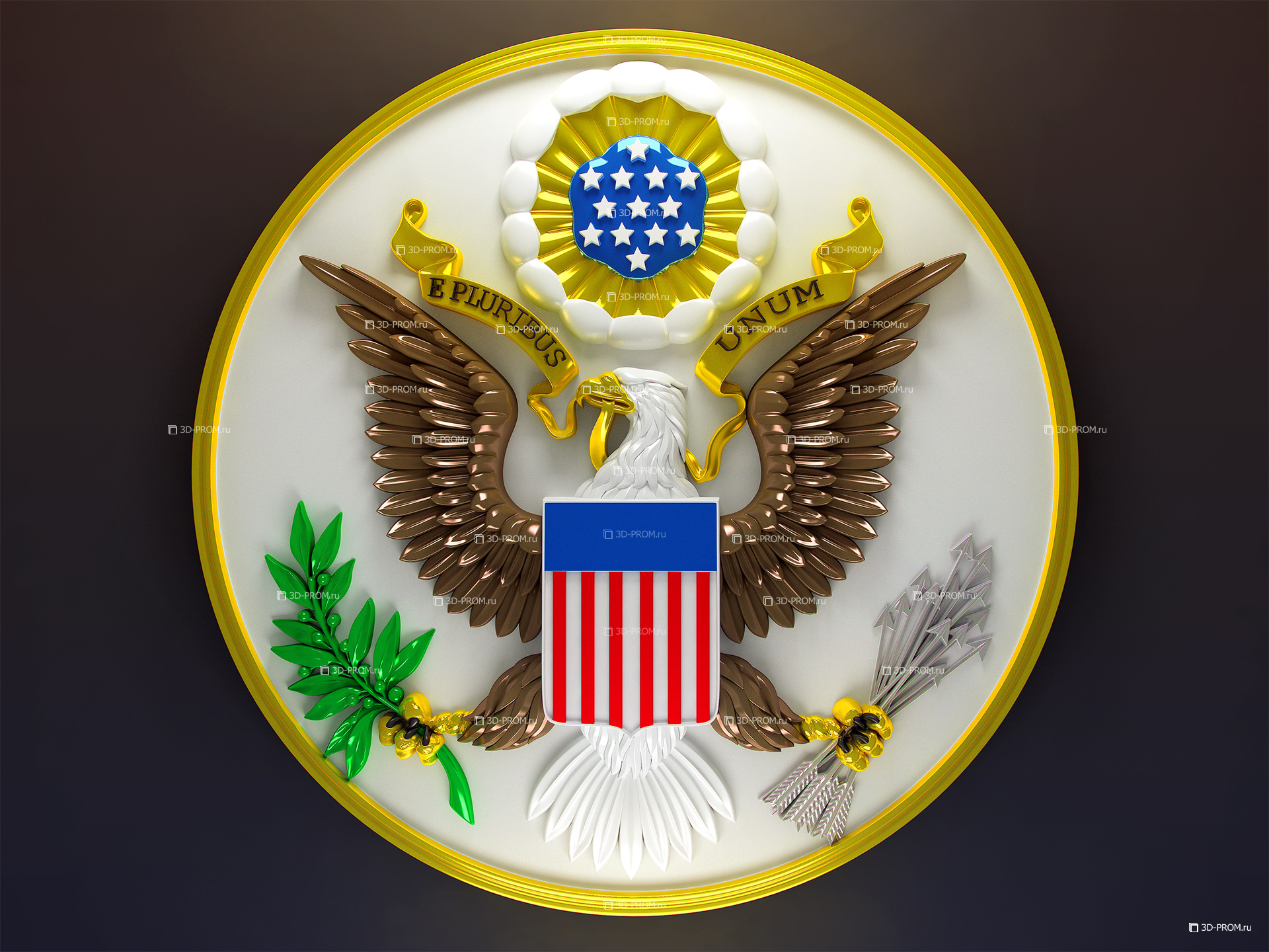 Great Seal of the United States of America 3d render